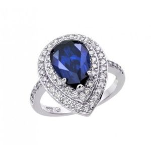 6CT BLUE TANZANITE PEAR CENTER ENGAGEMENT RING